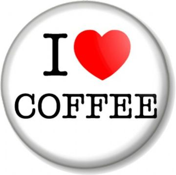 I Love / Heart COFFEE Pin Button Badge favourite hot drink bean caffeine
